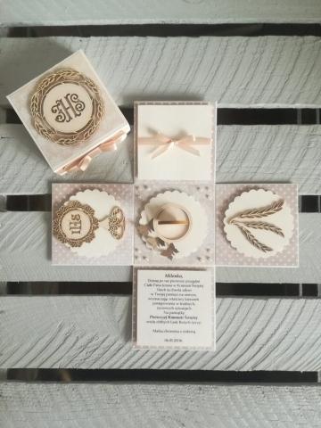 Eleganckie pudełko niespodzianka na Komunię Świętą