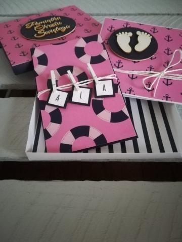 kartka z pudełkiem na chrzest dla dziewczynki