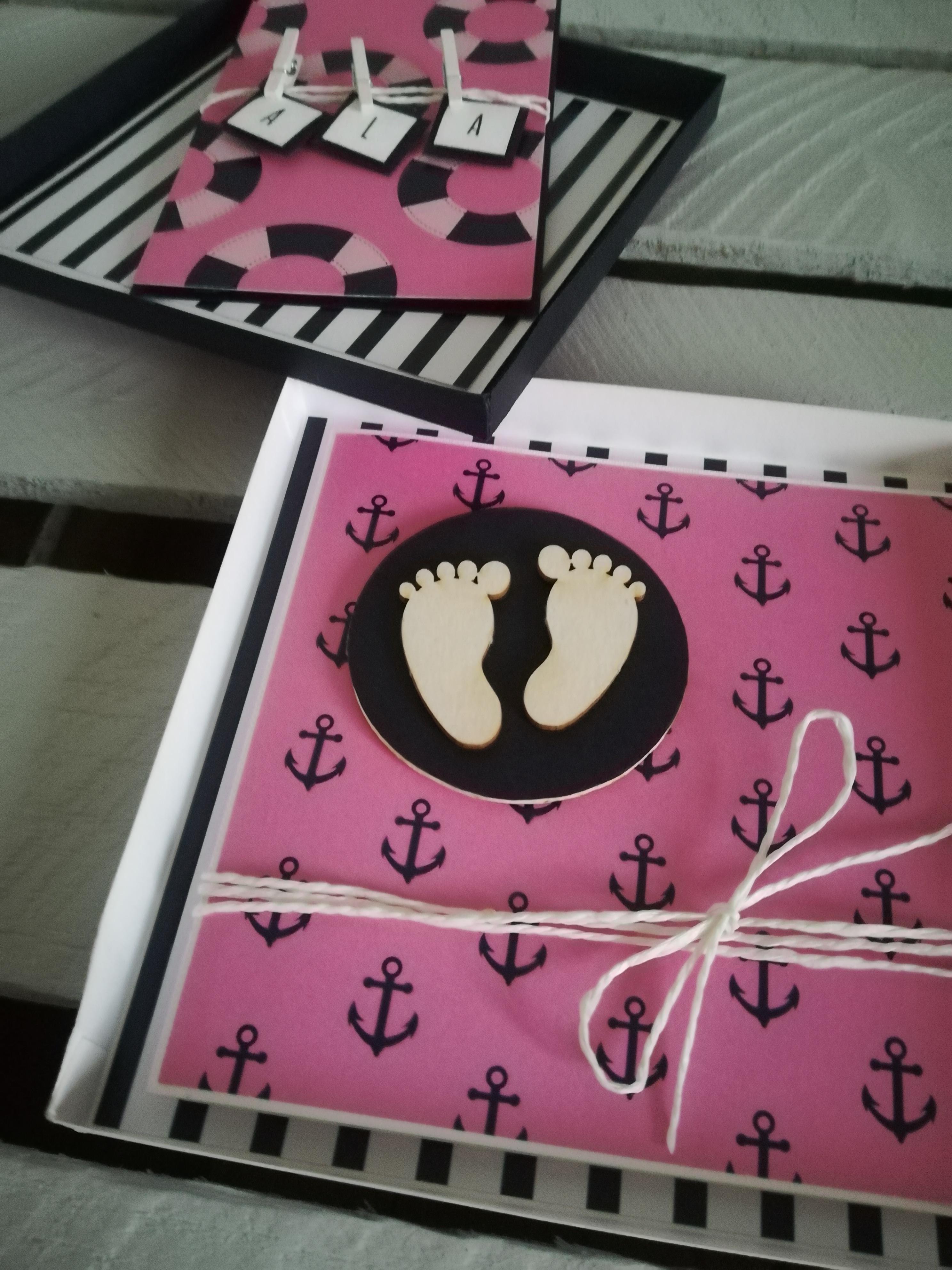 ręcznie robiona kartka na chrzest dla dziewczynki