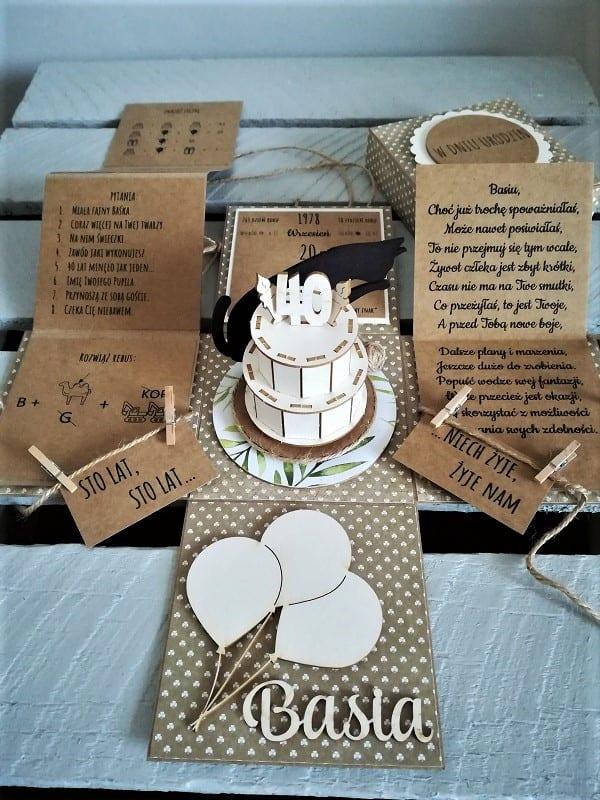 wyjątkowa, ręcznie robiona kartka na czterdzieste urodziny