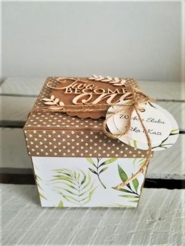 pudełko ślubne typu exploding box handmade