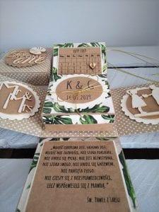 ręcznie robione pudełko niespodzianka na ślub w stylu rystykalnym