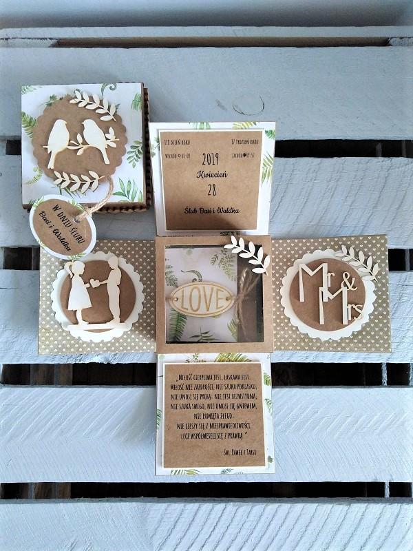 exploding box na ślub ręcznie robiona kartka na ślub