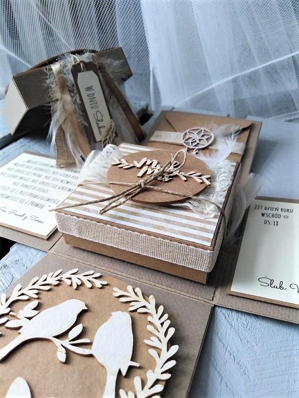 pudełko na ślub z łapaczem snów w stylu boho