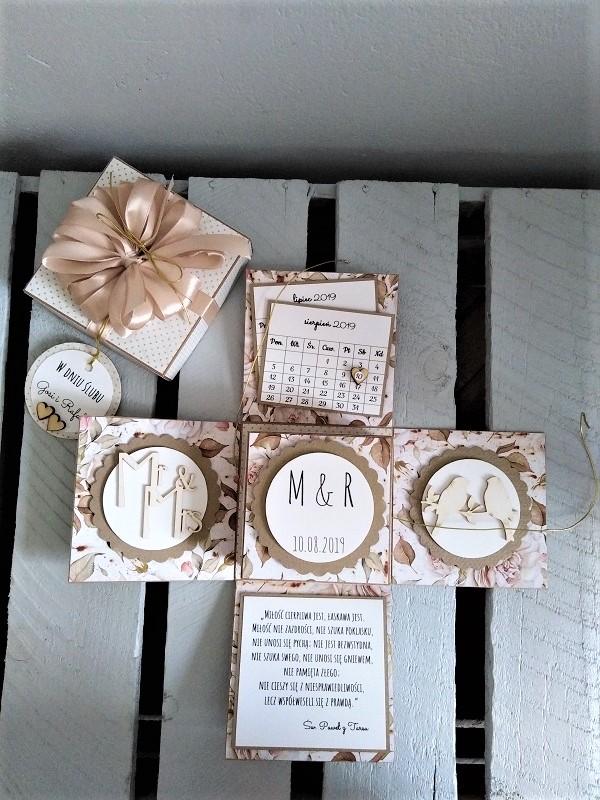 ręcznie robiona kartka na ślub typu exploding box